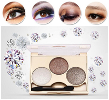 2016 Hot!3 colors Earth color diamond bare eye shadow makeup smoky eye shadow palette makeup cosmetics professional makeup brush(China (Mainland))
