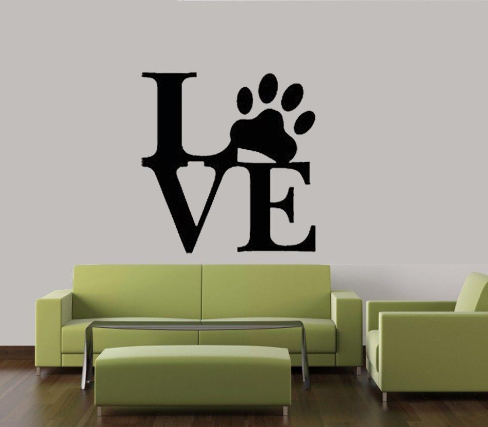 LOVE PAW PRINT DOG PET DECAL WALL VINYL DECOR STICKER HOME CAT DOG ...