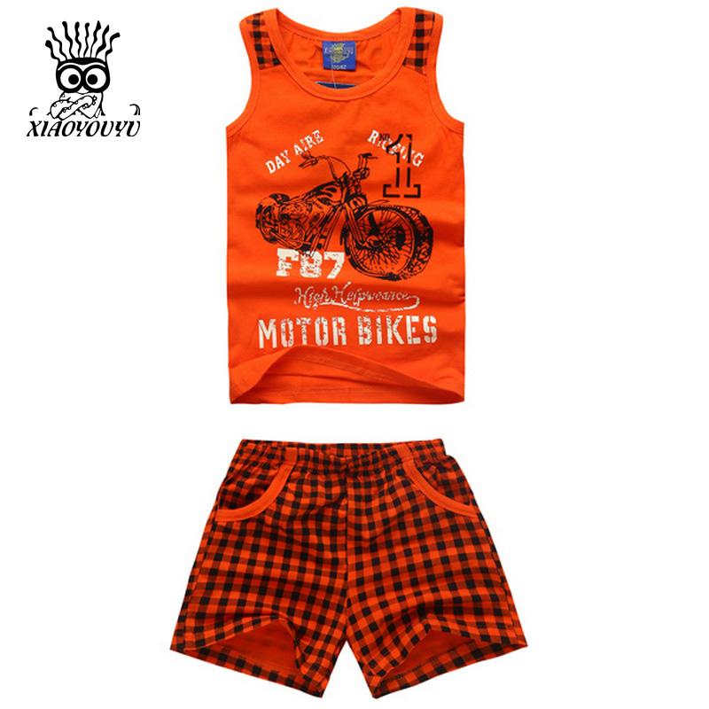 XIAOYOUYU Summer New Boys Sport Suit Fashion Motor Bike Pattern Children Clothing Set Vest + Grid Shorts Tracksuit Size 100-140(China (Mainland))