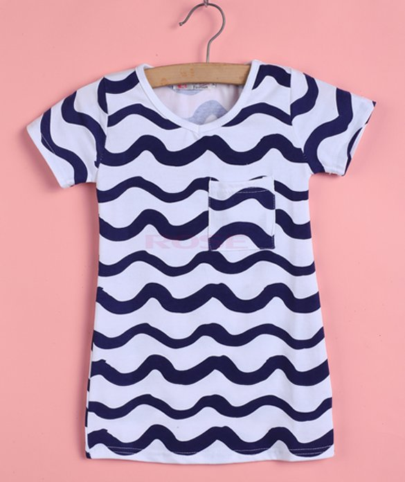 Brand New Girl Dress Summer Style Short Sleeve Girls Clothes 2015 Fashion Kids Clothes Wavy Striped Children Clothing Meninas(China (Mainland))