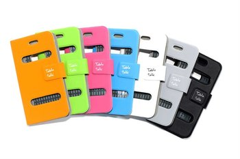 100pcs DHL free shpping New Design Table Talk Leather Removable Clip Flip cover and mobile phone casing for iPhone
