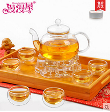600ML heat-resistant glass tea set / kettle, tea set including 6 double-wall cups + warmer + 5 candles, glass tea pot