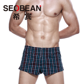 Free shipping Seobean men's plaid shorts home comfortable 100% cotton breathable shorts loose pants