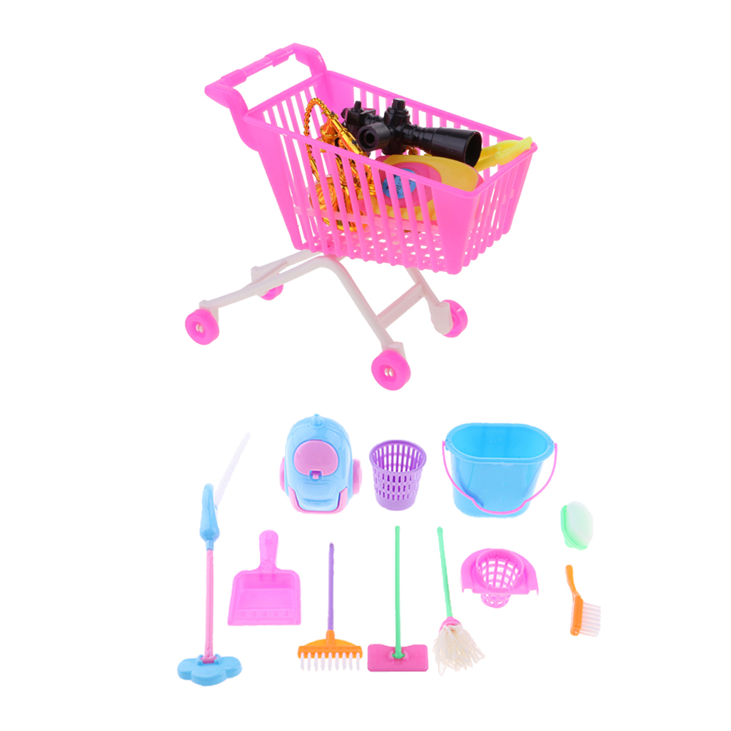 Doll Shopping Cart Plastic Cute Miniature Mini Supermarket Storage Hand Truck Pretend Toys Dollhouse Trolley Simulation Play Toy