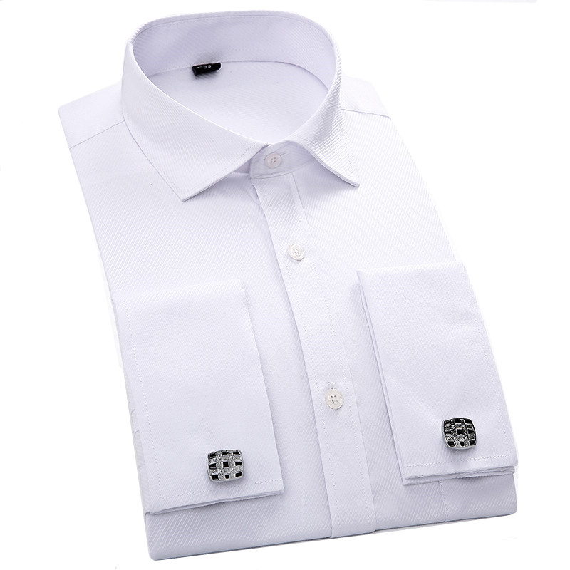 Mens Dress Shirts French Cuff Blue White Long Sleeved Business Casual Shirt Slim Fit Solid Color French Cufflinks ShirtОдежда и ак�е��уары<br><br><br>Aliexpress