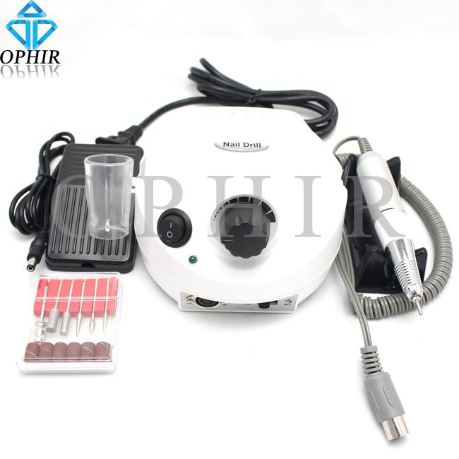 OPHIR Professional White 30,000Rpm Electric Acrylic Nail Drill Machine File/Bits Set Manicure Set 220V EU Plug _KD143W(220V)(China (Mainland))