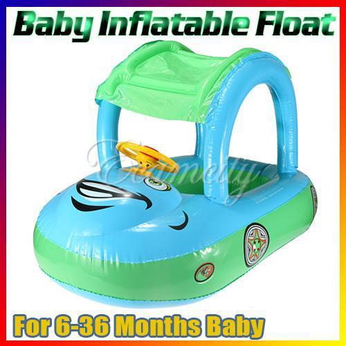 Sunshade Baby Child Kids Blue-Green Swim Ring Float Seat Boat Inflatable belt Water Pool Fun Sun Protection Umbrella(China (Mainland))