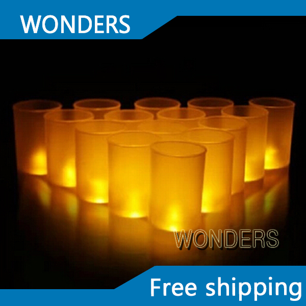 6 pieces/lot LED Blow On-Off Candle, yellow color changing LED Light Candle Lamps with Semitransparent Cup Free shipping(China (Mainland))