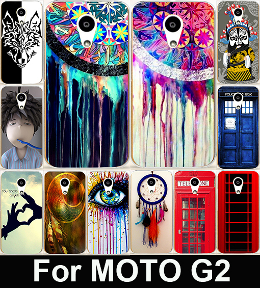 Retro Dream Catcher Telephone Booth Letter Hard PC Painted Cell Phone Case Cover For Motorola Moto G2 G+1 XT1063 XT1068 XT1069(China (Mainland))