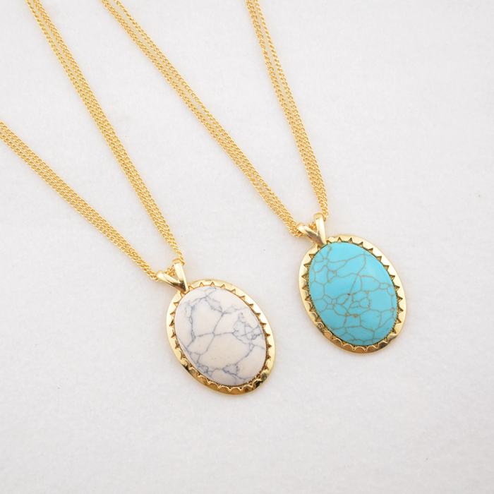 2016 new jewelry natural stone oval necklace women triangle lines White turquoise long necklaces & pendants(China (Mainland))