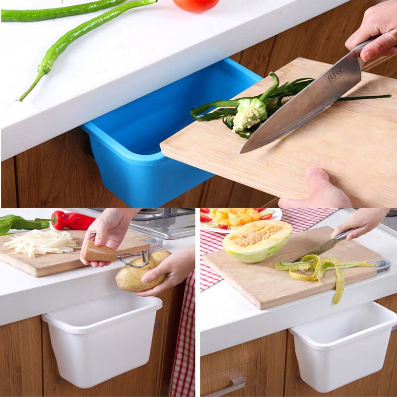 Kitchen waste cupboard doors hanging plastic storages box vegetables fruit peels rubbish office organizer necessaire(China (Mainland))