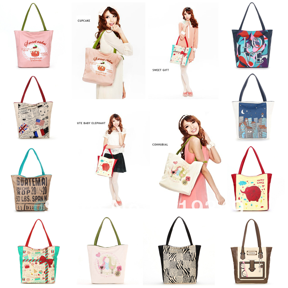 FREE SHIPPING VANCL Women Totes Bria Graphic Love Shopper Love Print Story Series Casual PU Leather Design Bags Multi Colors
