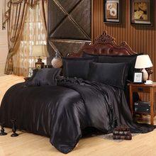Luxury Satin Silk Bedding Sets Duvet Cover Flat Fitted Sheet Twin Full Queen King size 4pcs/6pcs linen set Black 100%golden(China)