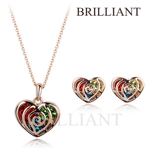 BS029 Elegant Colorful Heart 18K Rose Gold Plated Jewelry Necklace Earring Sets Austria SWA Crystal - Brilliant store