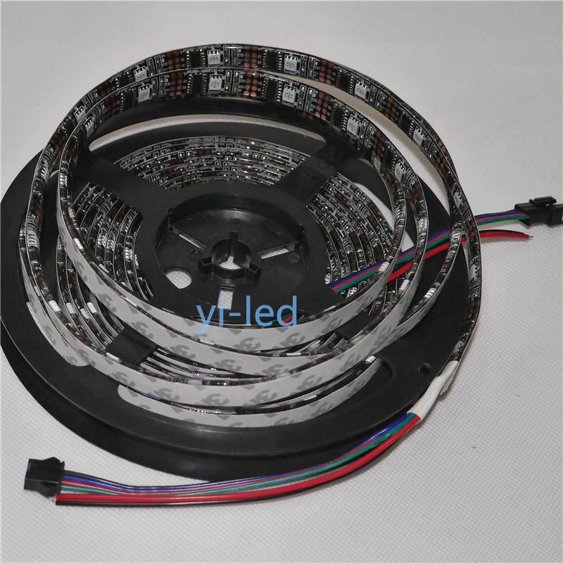 Free Shipping 5m ws2801 DC5V 32leds/m LED Strip Individual addressable 32 pixels  Black PCB Epoxy Waterproof IP65<br><br>Aliexpress