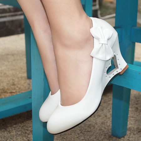 ENMAYER  2014 New style Big size34-43 Casual bowtie Patent Leather wedges high heel shoes womens wholesale<br><br>Aliexpress