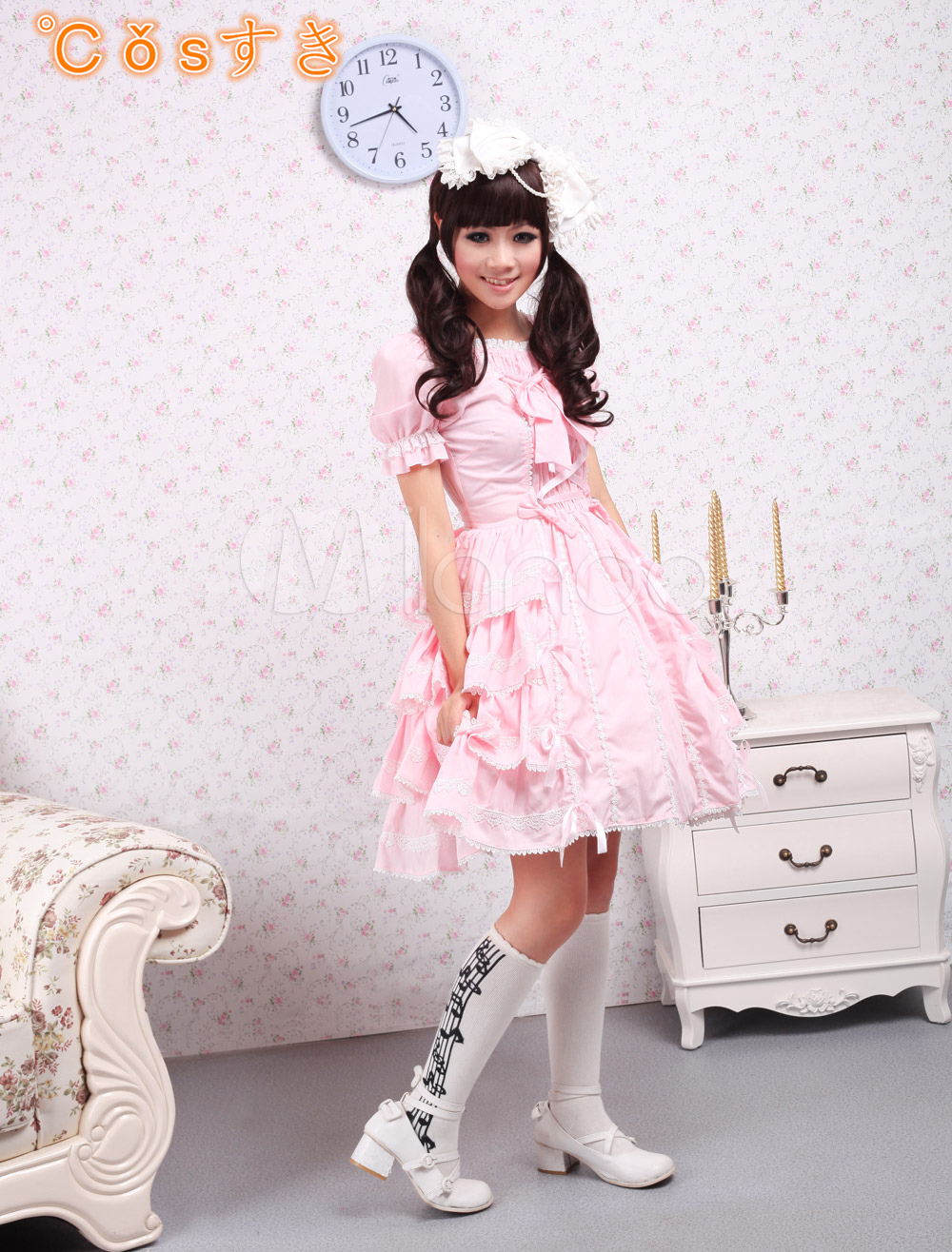 Free shipping! Newest! High - quality! Square Neck Pink Lace Ruffles Lolita Dress