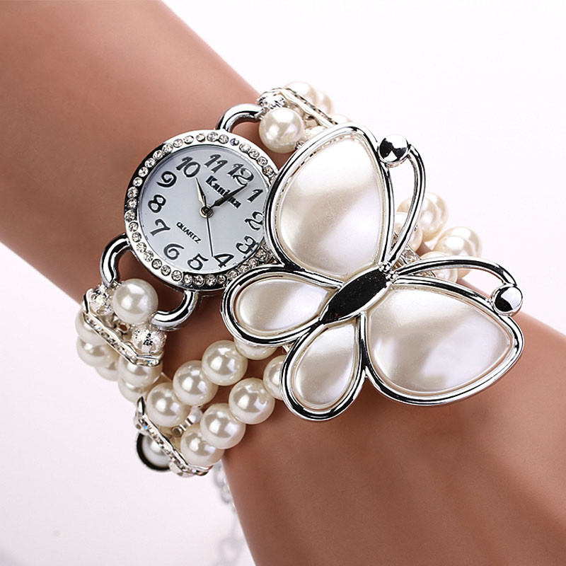 Women Artificial Pearl Strap Butterfly Bracelet Dial Quartz Wristwatch<br><br>Aliexpress