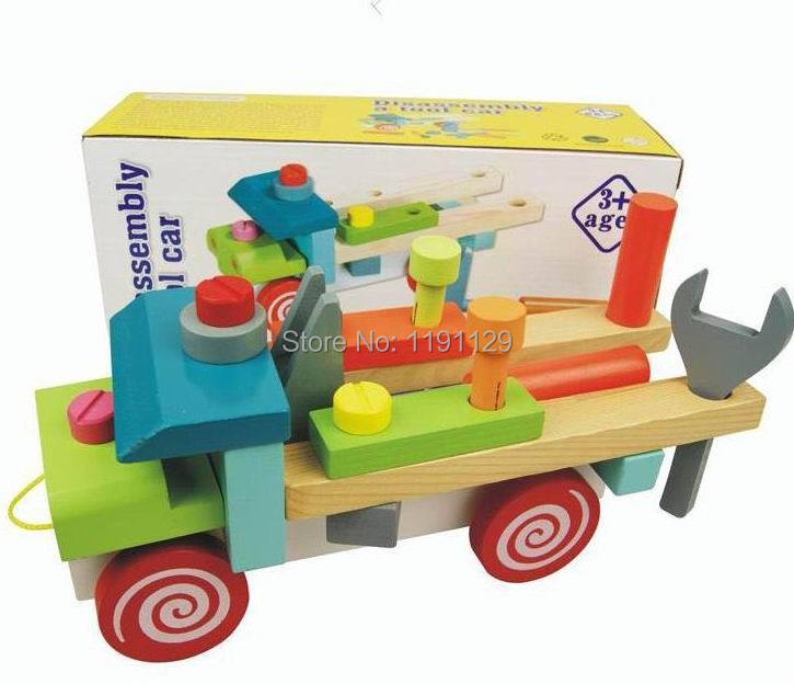 Wooden assemble tool car DIY toys drag vehicle blocks children birthday gifts kids learning and educational toys free shipping<br><br>Aliexpress