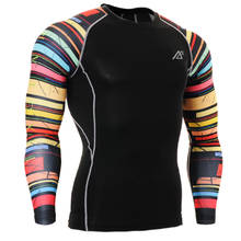 Men s Fitness Ciclismo Clothes Compression Skin Tights Long Sleeve Printing Breathable Bodybuilding Running T shirts