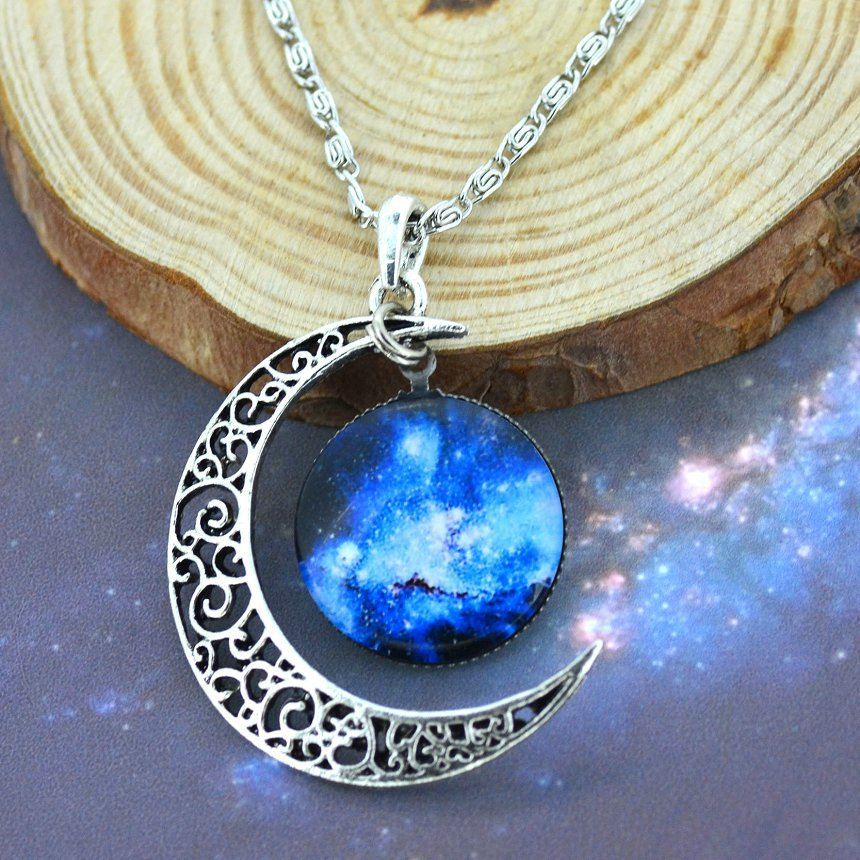 Galaxy Glass Cabochon Necklace&Pendant Glass Cabochon Statement Chain Necklace for Women Sterling Silver Jewelry Collares(China (Mainland))