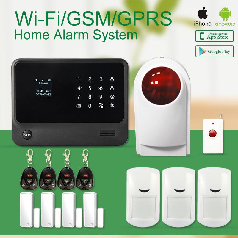 Security wireless gsm wifi alarm system IOS Android APP Control Wireless Siren WiFi Alarm System smart home alarm<br><br>Aliexpress