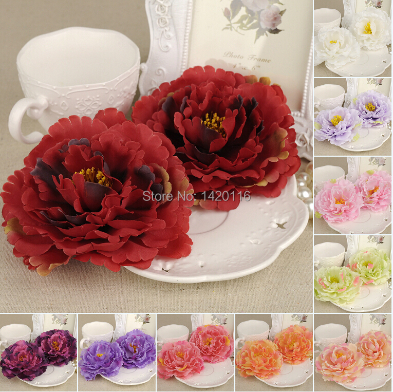 5Pcs Big Flower Heads 12cm Artificial Silk Flower Party Wedding Favors Home Decoration 10colors(China (Mainland))