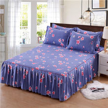 Classic Single Layer Bed Skirt Bedding Sets Non-slip Sheet Cover Bed Sheet Room Decor Flower Printing Bedspread Pillowcase 3pcs(China)
