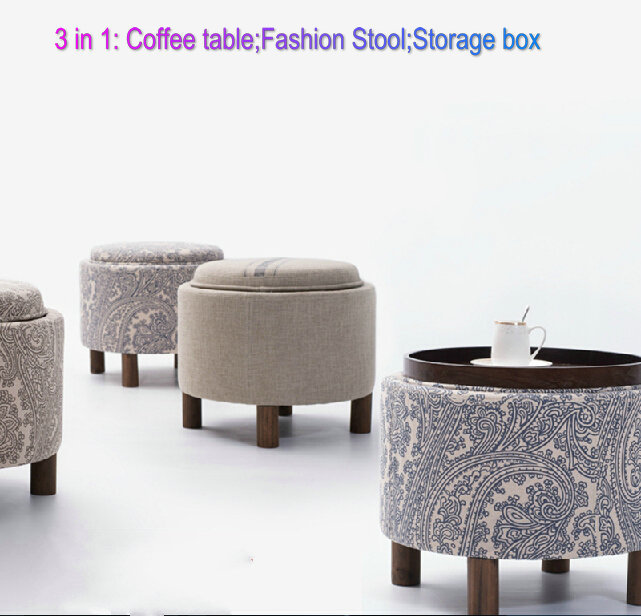 3 in 1 wood stool tea table circular storage bar table living room coffee table heigh quality level Free shipping(China (Mainland))