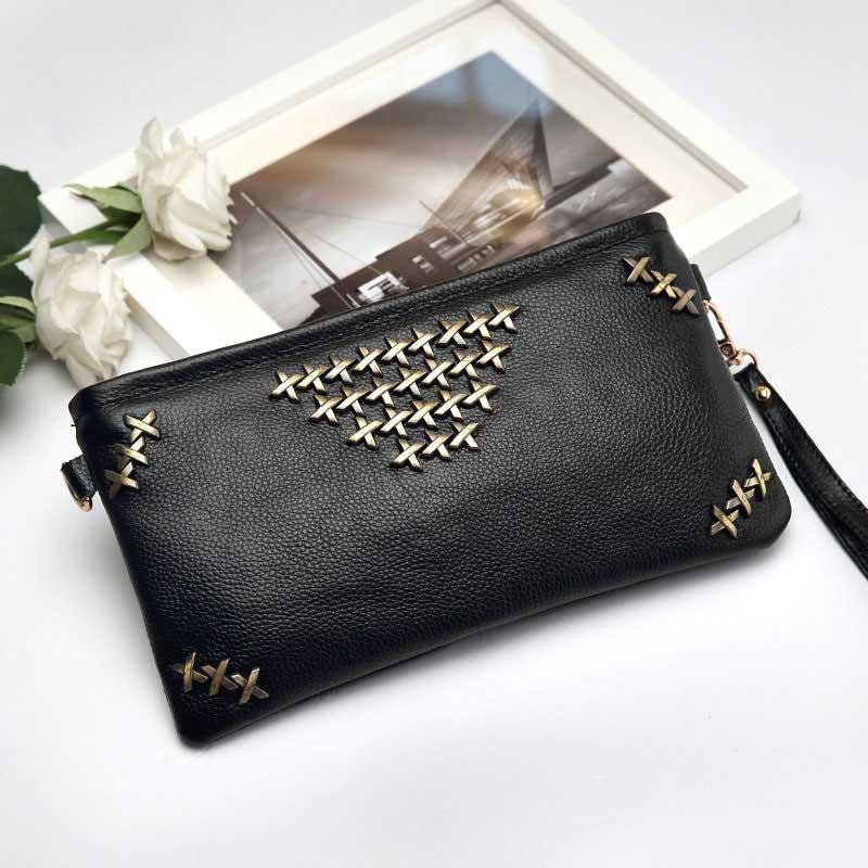 Chance Love Rivets Envelope Clutch Bag Genuine Leather Bag Women Messenger Bags Min Punk Bag Lady Long Purses and Handbags(China (Mainland))