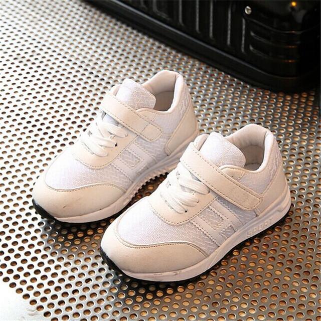 2017 Весна Детские Кроссовки Мальчиков Спортивная Shoes Мода Кожа Воздухопроницаемой Сеткой Девушки Случайные Shoes Chaussure Enfant