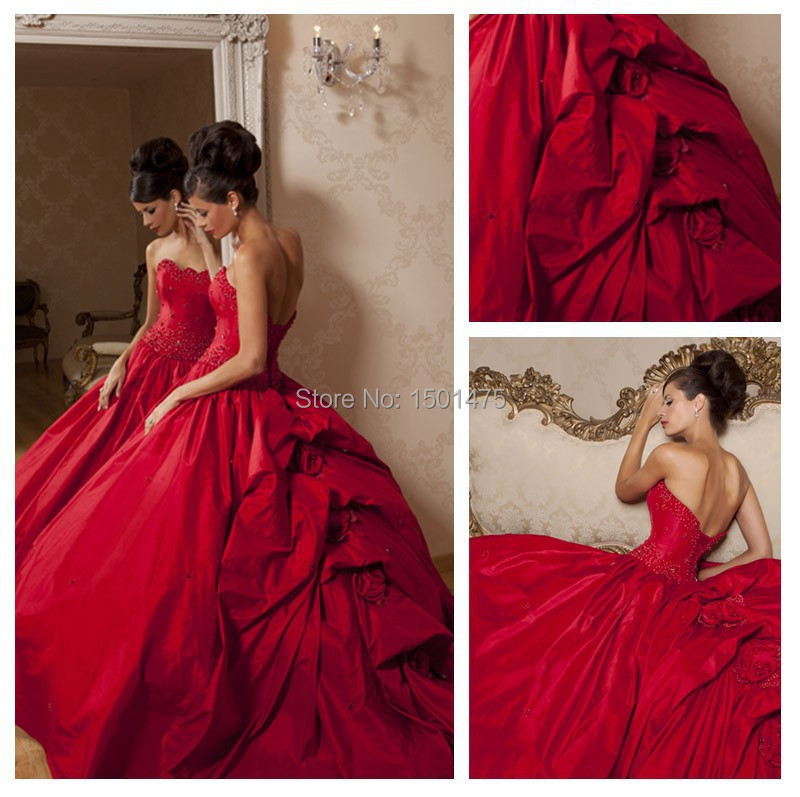 2015 Hot Red Satin Ball Gown Wedding Dresses Draped Sweep Train Floor Length Bridal Gown Vestidos Charming YH213(China (Mainland))