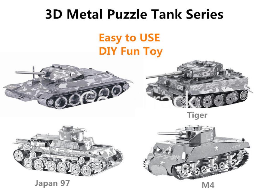 3D Metal puzzle 3D laser cut model 3D jigsaws DIY Gift Tank Series contain Tiger/Japan 97/T-34/M4 medium 3D nano puzzle(China (Mainland))