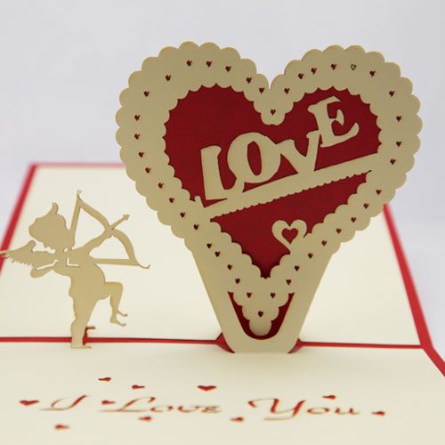 year 2014 Valentine cards Love heart laser cut invitations 3d pop cardsdecoupage paper art cute postcards envelope - Ivy trade company ltd store