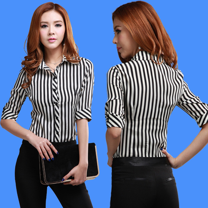 The New Summer 2015 Women Professional Shirts Cultivate One's Morality In Black And White Vertical Stripes Chiffon Blouse(China (Mainland))