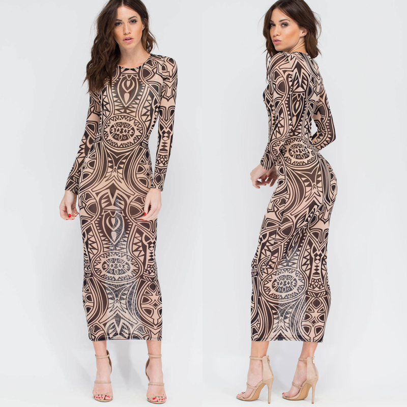 Women Summer Dress 2016 Woman New Casual Female Long Sleeve Mesh Dress Patchwork See Through Sexy Outfits Party Dresses Vestidos(China (Mainland))