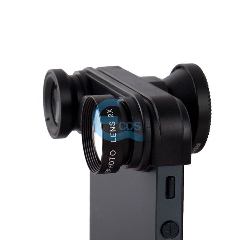 4 in1 Fish Eye Wide Angle Macro Lens Self-Timer Camera For iPhone 5 5S #61159