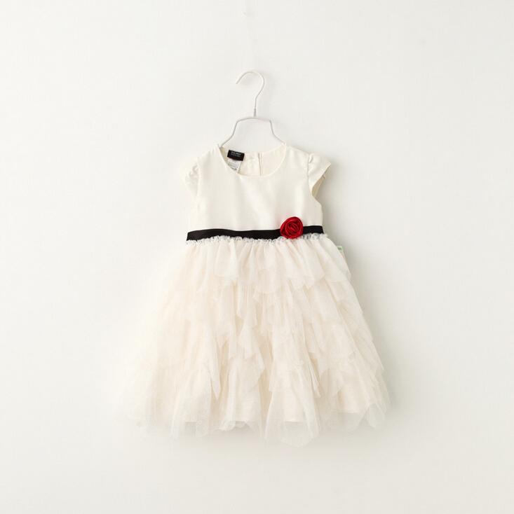 2016 Kids Baby Fairy Floral Tassel Tutu Dresses, Princess Girl Elegant Puff Sleeve Party Dress White 6 pcs/lot, Wholesale(China (Mainland))