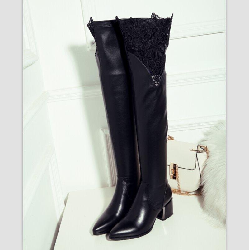 2015 прибывают новые зимние теплые сапоги выше колен сапоги кожа женщин сапоги мода украшать кружева бедро высокие сапоги обувь