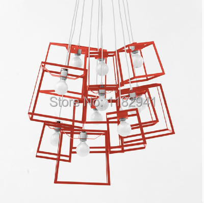 Free shipping Modern Italian wrought iron pendant light retro square design stylish restaurant bar pendant lamp Kids Room(China (Mainland))