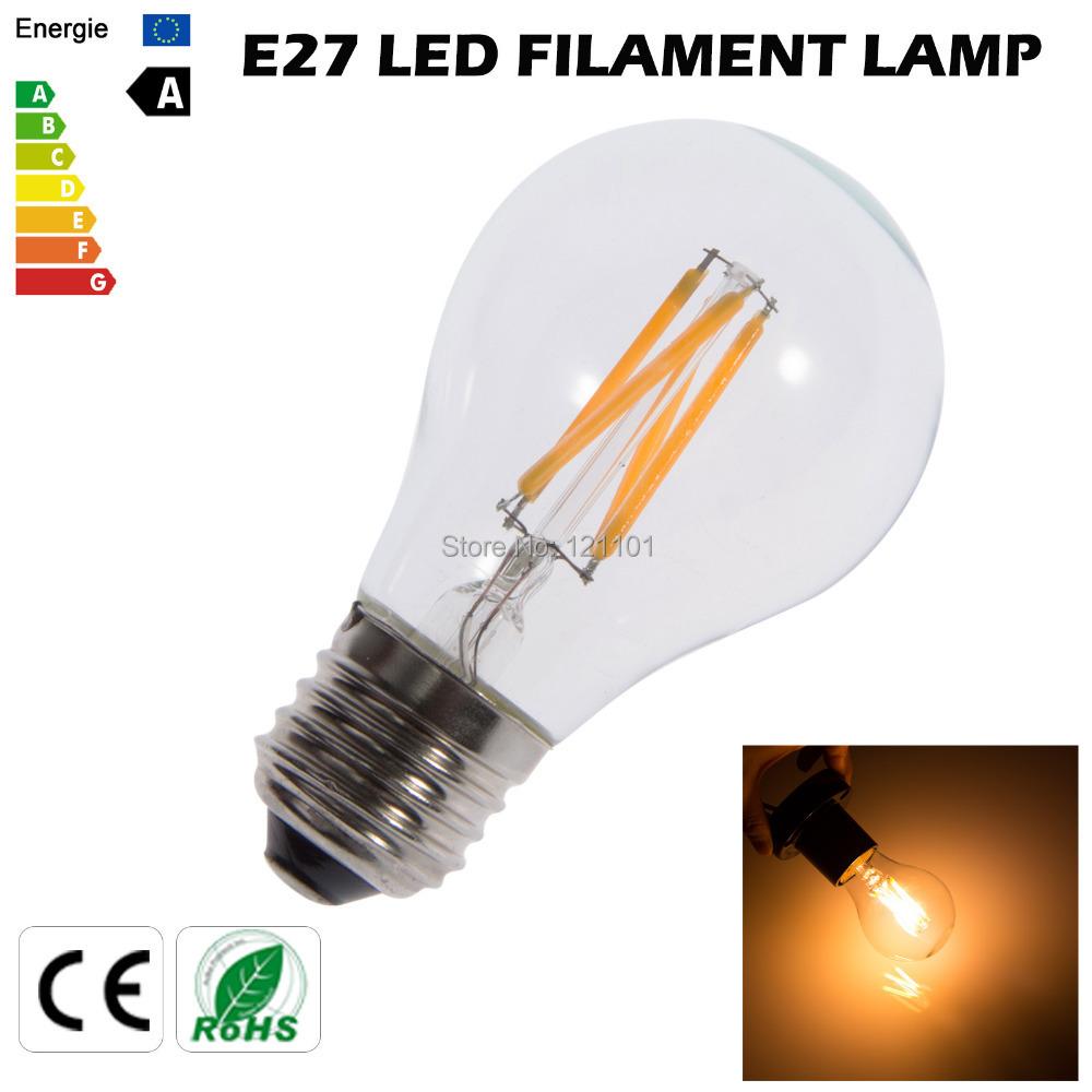 Free shipping Edison hot sell 4W led bulb lamp led filament bulb 360 degree led bulb AC220V e27 warm white led light bulb(China (Mainland))