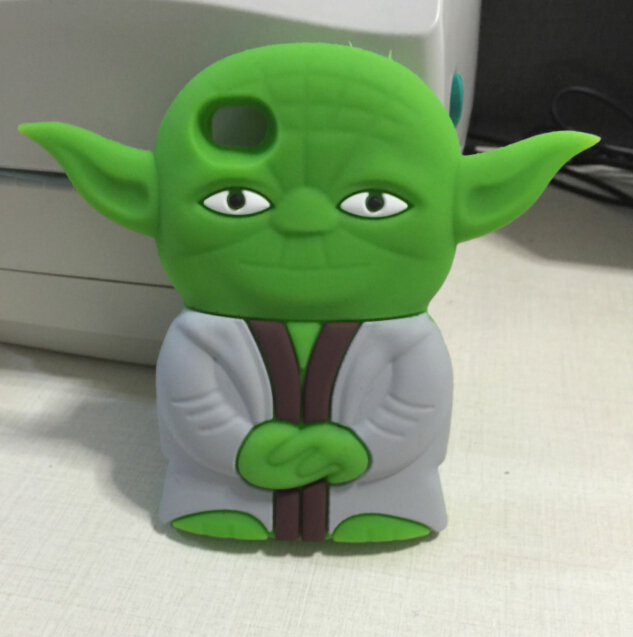 Phone case For iPhone 4 4S case 3D Cute Cartoon Star Wars Master Yoda Silicone Cell Phone For iphone 4s case(China (Mainland))