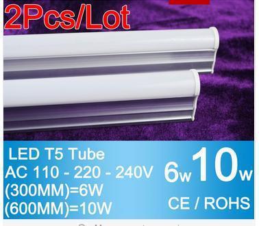 2pcs led tube light LED strip Light 300mm 6W / 600mm 10W T5 Light LED Lamp 110V 220V 240V Epistar Warm White Cold White SMD2835(China (Mainland))