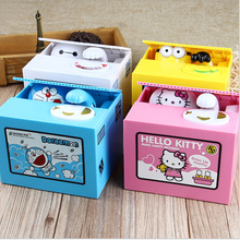 Automated Doraemon hello kitty baymax Minions Moving Electronic steal Coins saving Money Piggy Bank Box for kids birthday gift(China (Mainland))