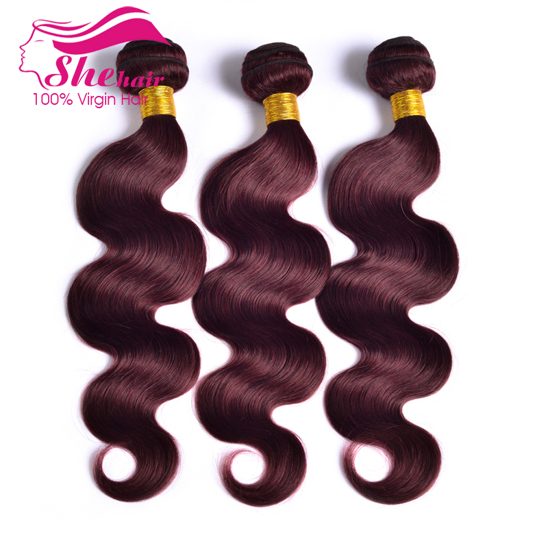 SHE Hair New arrival brazilian body wave 3pcs lot mixed inch 99j color weave red brazilian body wave free shipping human hair<br><br>Aliexpress