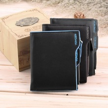 1pcs 2015 fashion men wallets Faux Leather Bifold Wallet ID credit Card holder Coin Purse Pockets