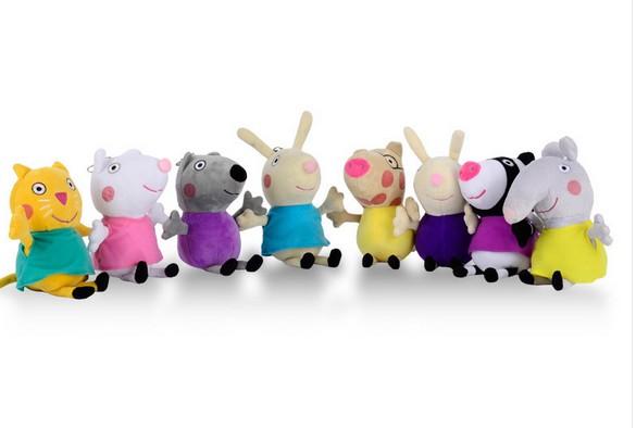 2016 1pcs Hot 19 CM Red Pink Peppa pig Friend Suzy Poppa Amigo Plush Toys Pelucia Peppa Friends 8 Characters Kids Gift<br><br>Aliexpress