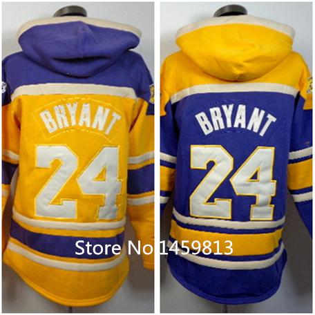 24 Kobe Bryant Yellow Hoodies Sweatshirts,Stitched Logo Embroidery,Purple Basketball Hoody Recommend,Size M-3XL Can Mix Order(China (Mainland))