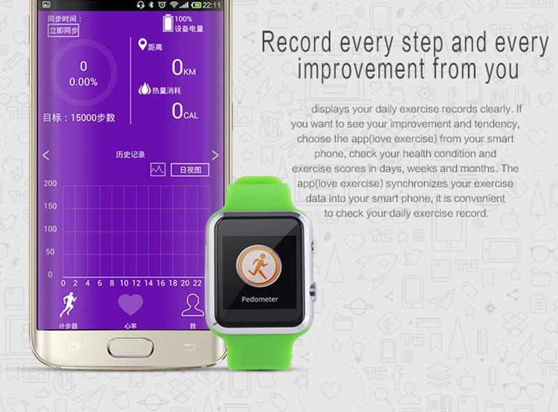 ถูก 2015ใหม่S Mart W AtchกับนหัวใจA6บลูทูธดูสมาร์ทสำหรับip honeแอปเปิ้ลและซัมซุงโทรศัพท์A Ndroid relógio inteligente r eloj