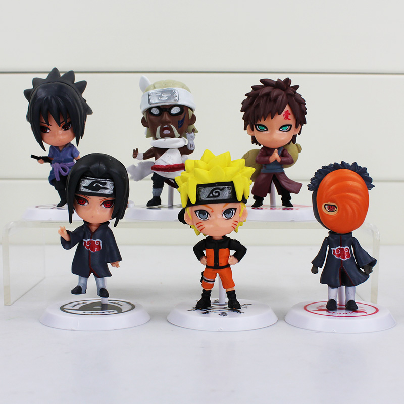 Free shipping Japan Anime Naruto 6pcs/set 2.8 figure Naruto Gaara itachi sasuke KillerB Uchelloha Madara Q version<br><br>Aliexpress